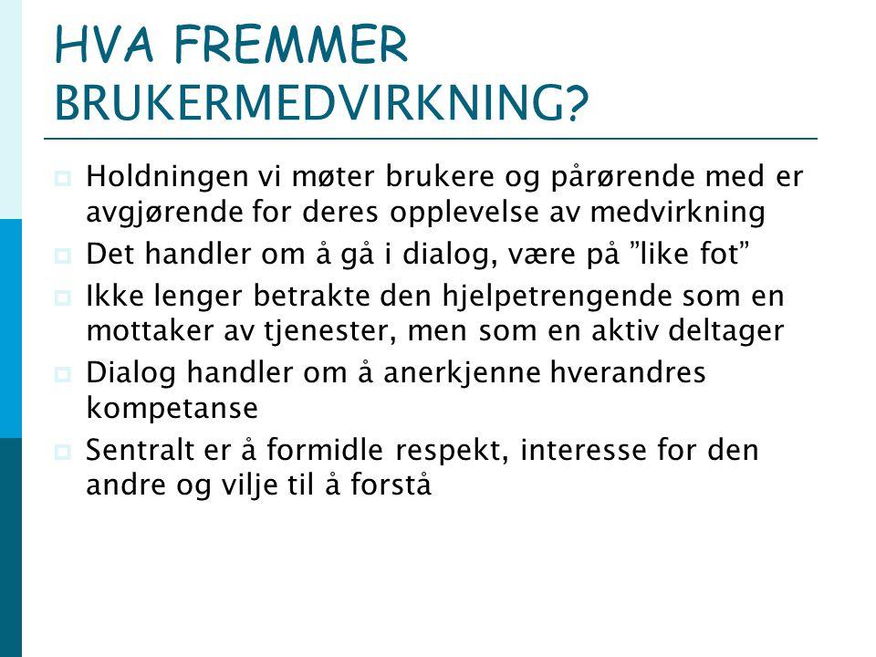 HVA FREMMER BRUKERMEDVIRKNING.