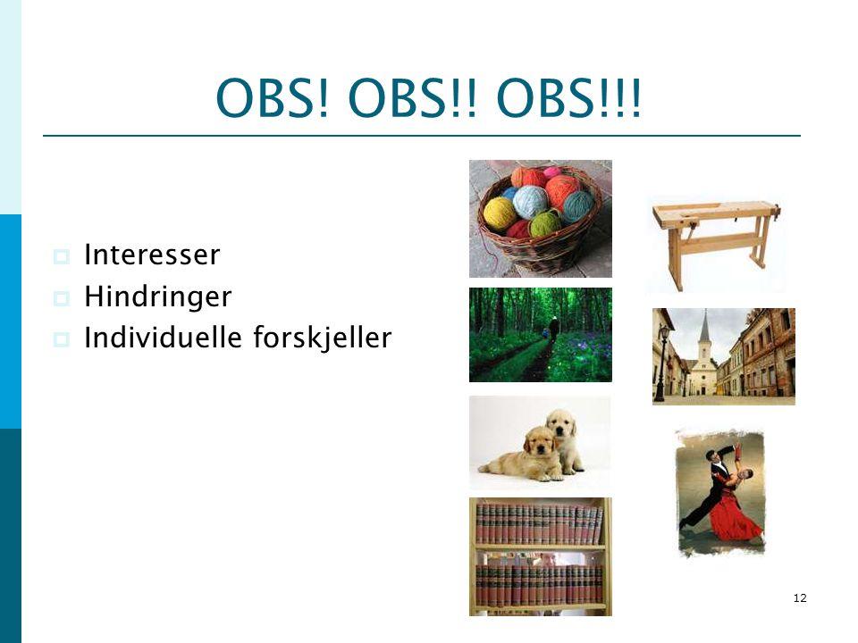 12 OBS! OBS!! OBS!!!  Interesser  Hindringer  Individuelle forskjeller