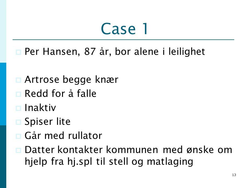 Case 1  Per Hansen, 87 år, bor alene i leilighet  Artrose begge knær  Redd for å falle  Inaktiv  Spiser lite  Går med rullator  Datter kontakte