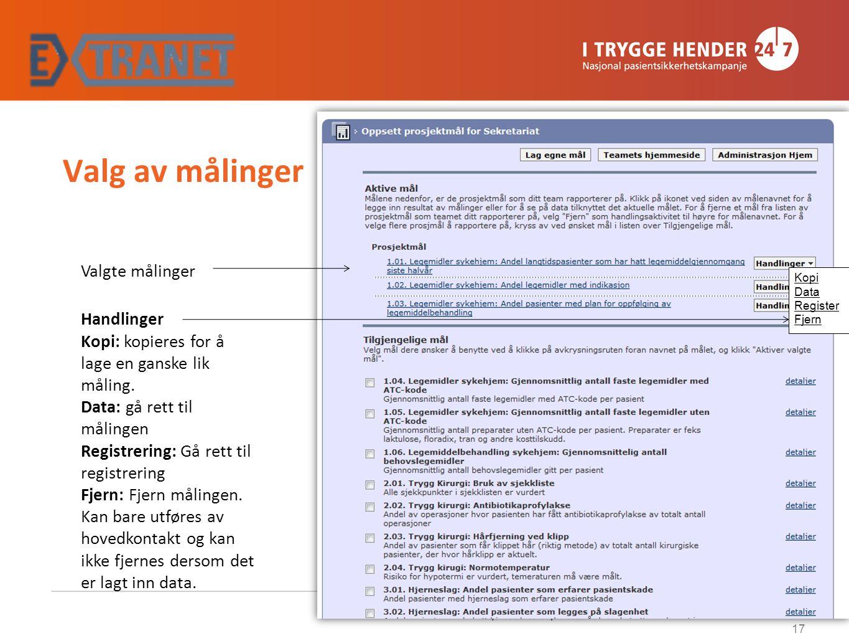 Valg av målinger Kopi Data Register Fjern Valgte målinger Handlinger Kopi: kopieres for å lage en ganske lik måling. Data: gå rett til målingen Regist