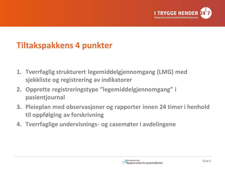 Tiltakspakkens 4 punkter 1.Tverrfaglig strukturert legemiddelgjennomgang (LMG) med sjekkliste og registrering av indikatorer 2.Opprette registreringst