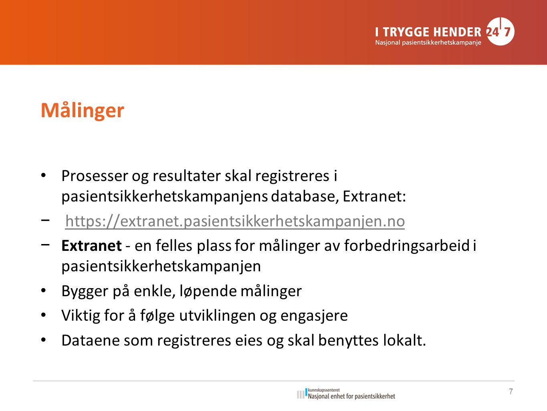 Målinger Prosesser og resultater skal registreres i pasientsikkerhetskampanjens database, Extranet: − https://extranet.pasientsikkerhetskampanjen.noht