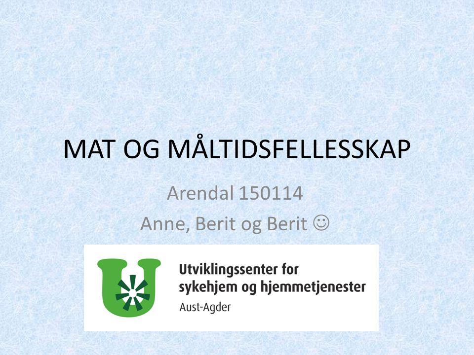 MAT OG MÅLTIDSFELLESSKAP Arendal 150114 Anne, Berit og Berit