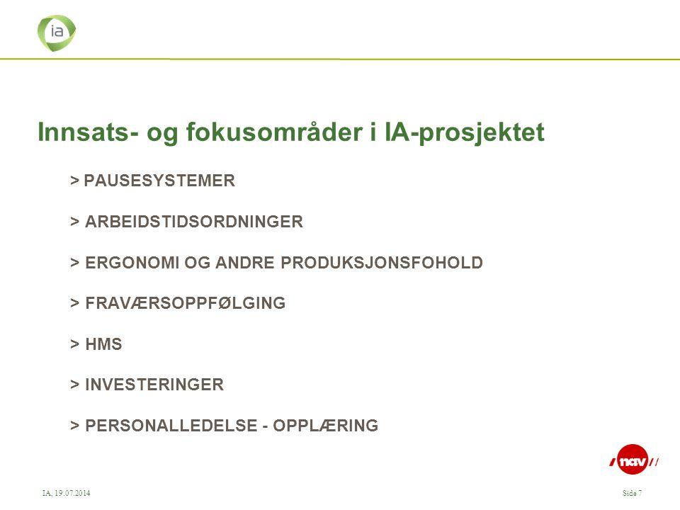 IA, 19.07.2014Side 7 Innsats- og fokusområder i IA-prosjektet >PAUSESYSTEMER > ARBEIDSTIDSORDNINGER > ERGONOMI OG ANDRE PRODUKSJONSFOHOLD > FRAVÆRSOPPFØLGING > HMS > INVESTERINGER > PERSONALLEDELSE - OPPLÆRING