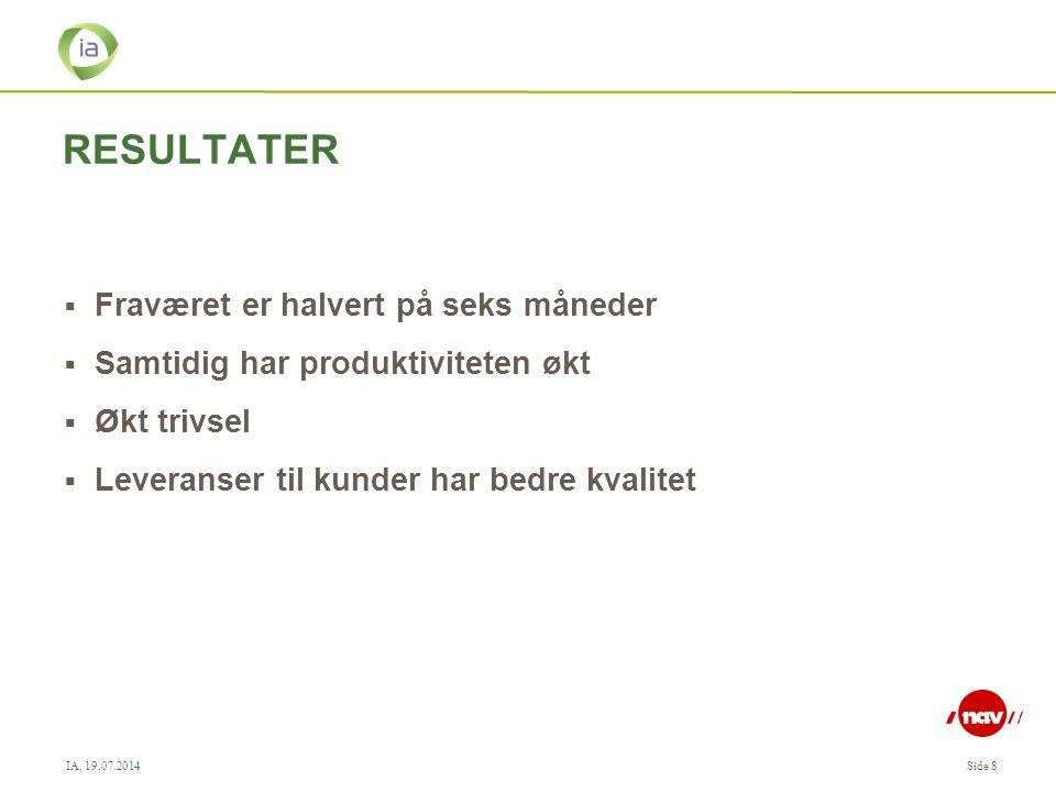 IA, 19.07.2014Side 8 RESULTATER  Fraværet er halvert på seks måneder  Samtidig har produktiviteten økt  Økt trivsel  Leveranser til kunder har bedre kvalitet