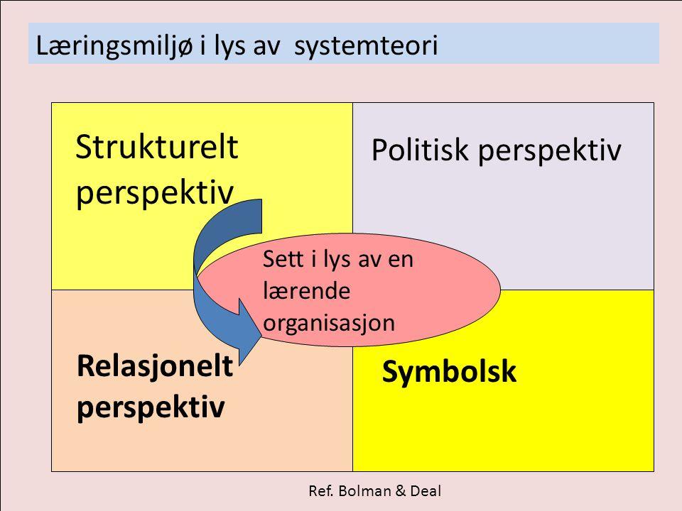 Læringsmiljø i lys av systemteori Ref. Bolman & Deal Strukturelt perspektiv Politisk perspektiv Symbolsk Relasjonelt perspektiv Sett i lys av en læren