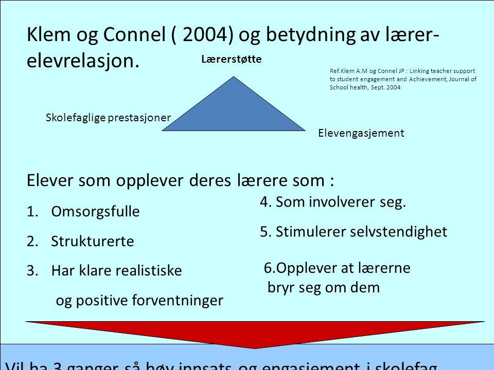 Klem og Connel ( 2004) og betydning av lærer- elevrelasjon. Lærerstøtte Elevengasjement Skolefaglige prestasjoner Elever som opplever deres lærere som