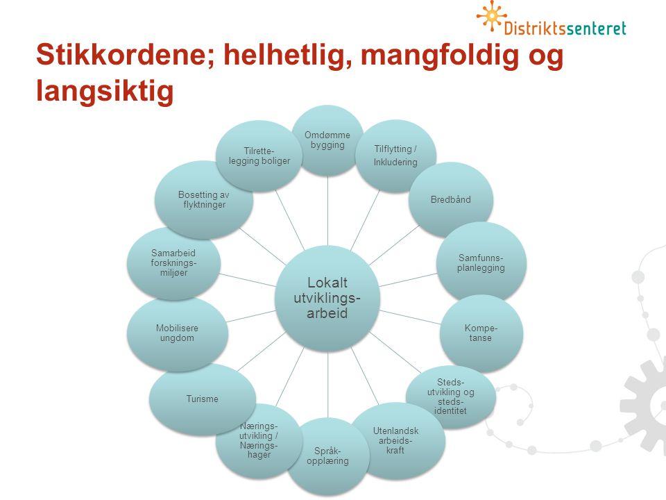 Stikkordene; helhetlig, mangfoldig og langsiktig Lokalt utviklings- arbeid Omdømme bygging Tilflytting / Inkludering Bredbånd Samfunns- planlegging Kompe- tanse Steds- utvikling og steds- identitet Utenlandsk arbeids- kraft Språk- opplæring Nærings- utvikling / Nærings- hager Turisme Mobilisere ungdom Samarbeid forsknings- miljøer Bosetting av flyktninger Tilrette- legging boliger Lokalt utvikings- arbeid Omdømm ebygging Tilflytting / Inkludering Bredbånd samfunnsplanleggi ng Kompetanse Stedsutvikling og stedsidentitet Utenlandsk arbeidskraft Språkopplærin g Næringsutviklin g/ næringshager .
