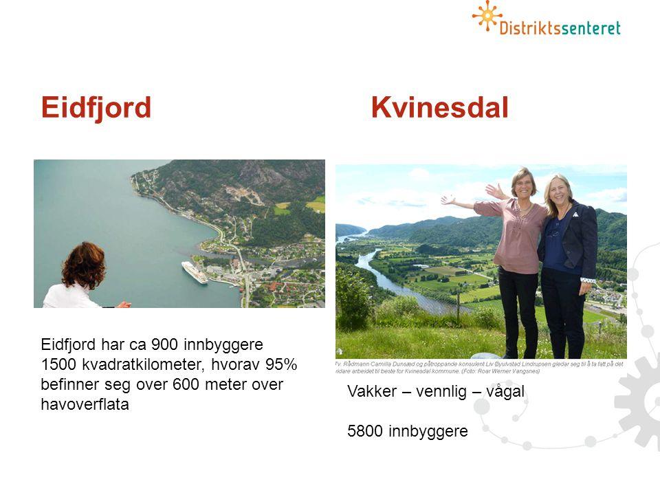 EidfjordKvinesdal Eidfjord har ca 900 innbyggere 1500 kvadratkilometer, hvorav 95% befinner seg over 600 meter over havoverflata Vakker – vennlig – vågal 5800 innbyggere