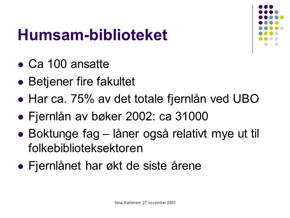 Nina Karlstrøm 27.november 2003 Humsam-biblioteket Ca 100 ansatte Betjener fire fakultet Har ca. 75% av det totale fjernlån ved UBO Fjernlån av bøker
