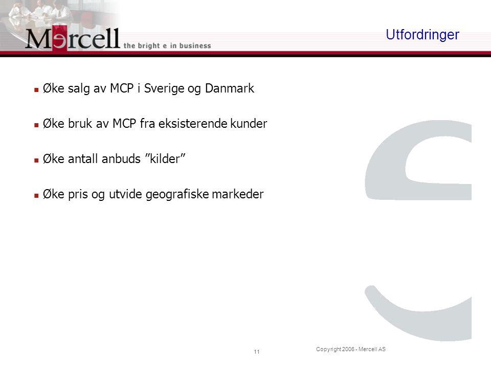 """Copyright 2006 - Mercell AS 11 Utfordringer Øke salg av MCP i Sverige og Danmark Øke bruk av MCP fra eksisterende kunder Øke antall anbuds """"kilder"""" Øk"""