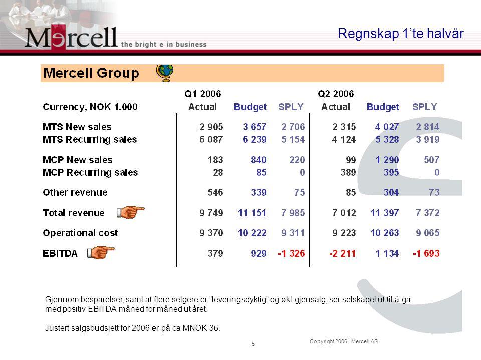 """Copyright 2006 - Mercell AS 5 Regnskap 1'te halvår Gjennom besparelser, samt at flere selgere er """"leveringsdyktig"""" og økt gjensalg, ser selskapet ut t"""