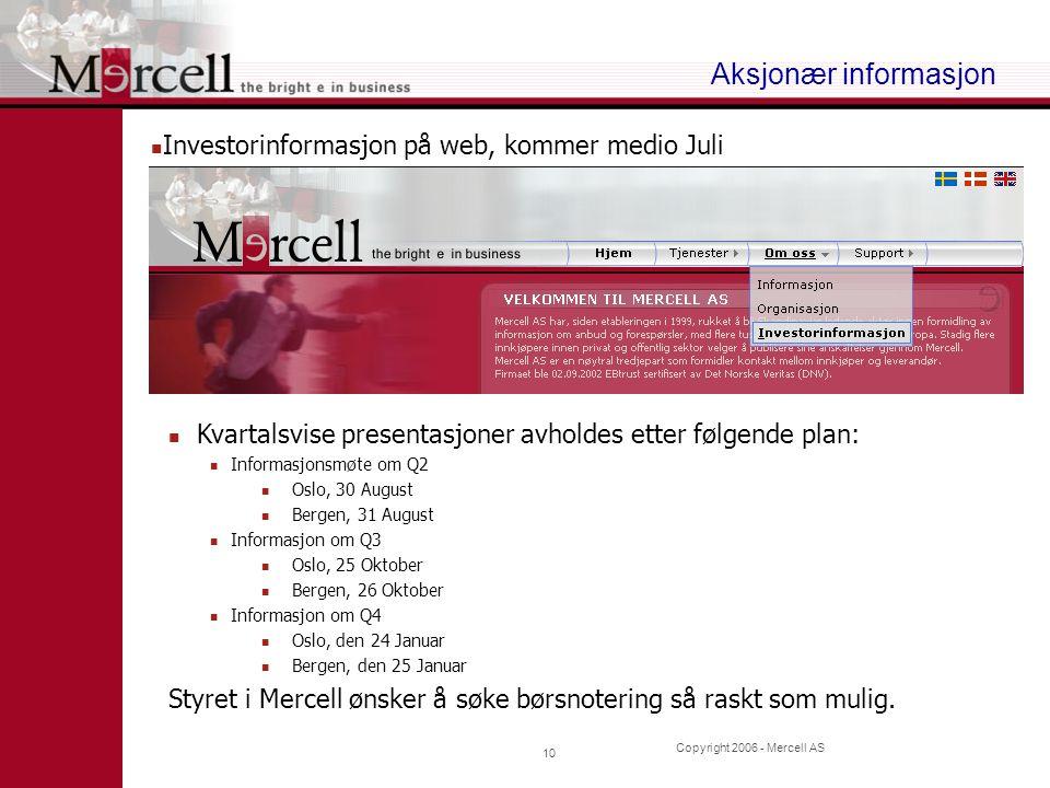 Copyright 2006 - Mercell AS 10 Aksjonær informasjon Investorinformasjon på web, kommer medio Juli Kvartalsvise presentasjoner avholdes etter følgende plan: Informasjonsmøte om Q2 Oslo, 30 August Bergen, 31 August Informasjon om Q3 Oslo, 25 Oktober Bergen, 26 Oktober Informasjon om Q4 Oslo, den 24 Januar Bergen, den 25 Januar Styret i Mercell ønsker å søke børsnotering så raskt som mulig.