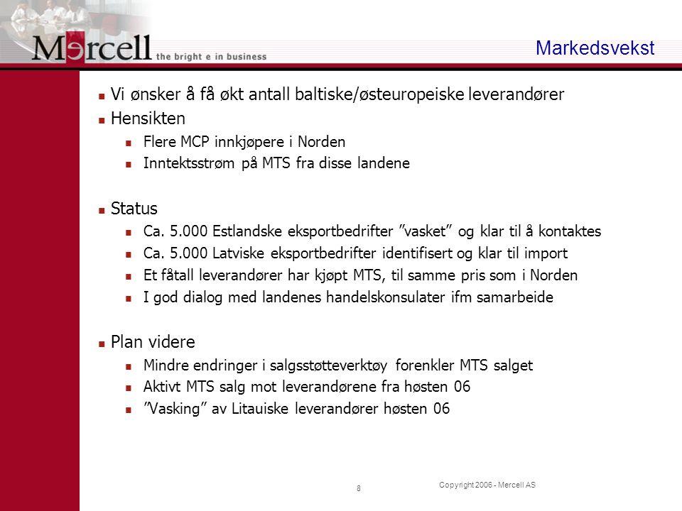 Copyright 2006 - Mercell AS 9 Oppsummering Mercell har som eneste aktør i EU et ferdig konsept for anskaffelse, MCP Mercell er den ledende aktøren i Norden på anbudsvarsling, MTS (DOFFIN hadde i Juni 2005, 500 leverandører som betalte 1.500,- pr år) Mercell er godt i gang med Fase 2 Fase 1 : Bygge kritisk leverandørmasse gjennom telefonsalg av MTS i våre primærmarkeder, oppsalg mot mer modne kunder Fase 2 : Levere MCP til innkjøpere i privat og offentlig sektor, og derigjennom øke prospects, kunder og unike forespørsler, samt øke salget til eksisterende kunder Geografisk ekspansjon, flere MTS lavkost leverandører for innkjøpere Fase 3 : Aktivt selge merverditjenester til leverandørene, som er verdiforøkende for innkjøpere.