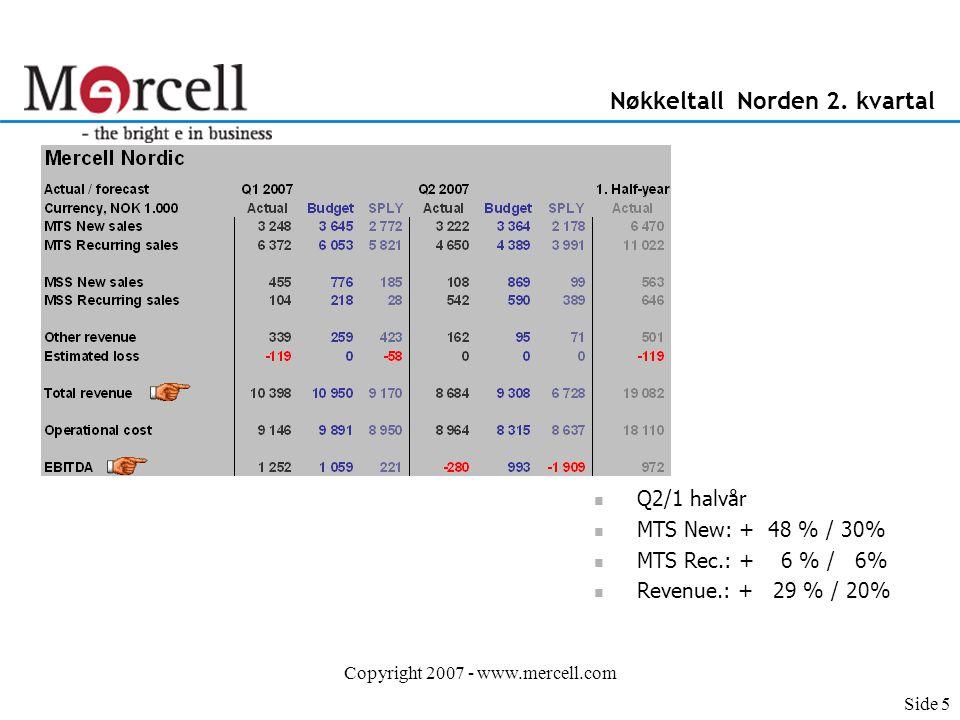 Copyright 2007 - www.mercell.com Nøkkeltall Nye Markeder 2. kvartal Side 6
