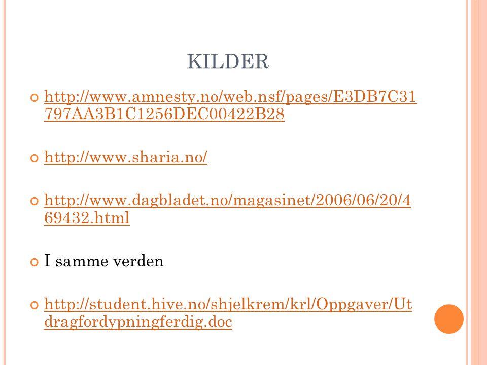 KILDER http://www.amnesty.no/web.nsf/pages/E3DB7C31 797AA3B1C1256DEC00422B28 http://www.sharia.no/ http://www.dagbladet.no/magasinet/2006/06/20/4 6943