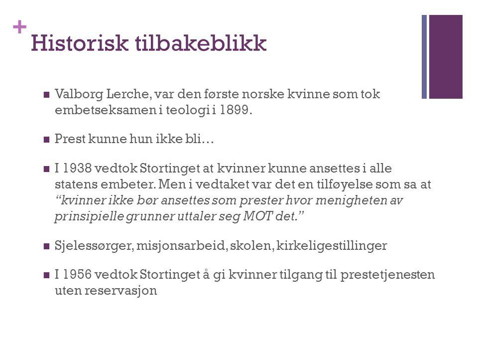 + Historisk tilbakeblikk Valborg Lerche, var den første norske kvinne som tok embetseksamen i teologi i 1899. Prest kunne hun ikke bli… I 1938 vedtok