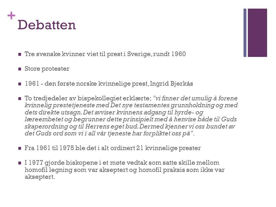 + Debatten Tre svenske kvinner viet til prest i Sverige, rundt 1960 Store protester 1961 - den første norske kvinnelige prest, Ingrid Bjerkås To tredj