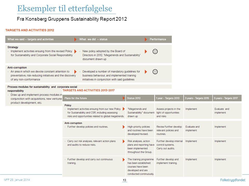 Eksempler til etterfølgelse Fra Konsberg Gruppens Sustainability Report 2012 NFF 29. januar 2014 13