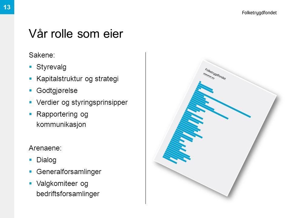 Vår rolle som eier Sakene:  Styrevalg  Kapitalstruktur og strategi  Godtgjørelse  Verdier og styringsprinsipper  Rapportering og kommunikasjon Ar