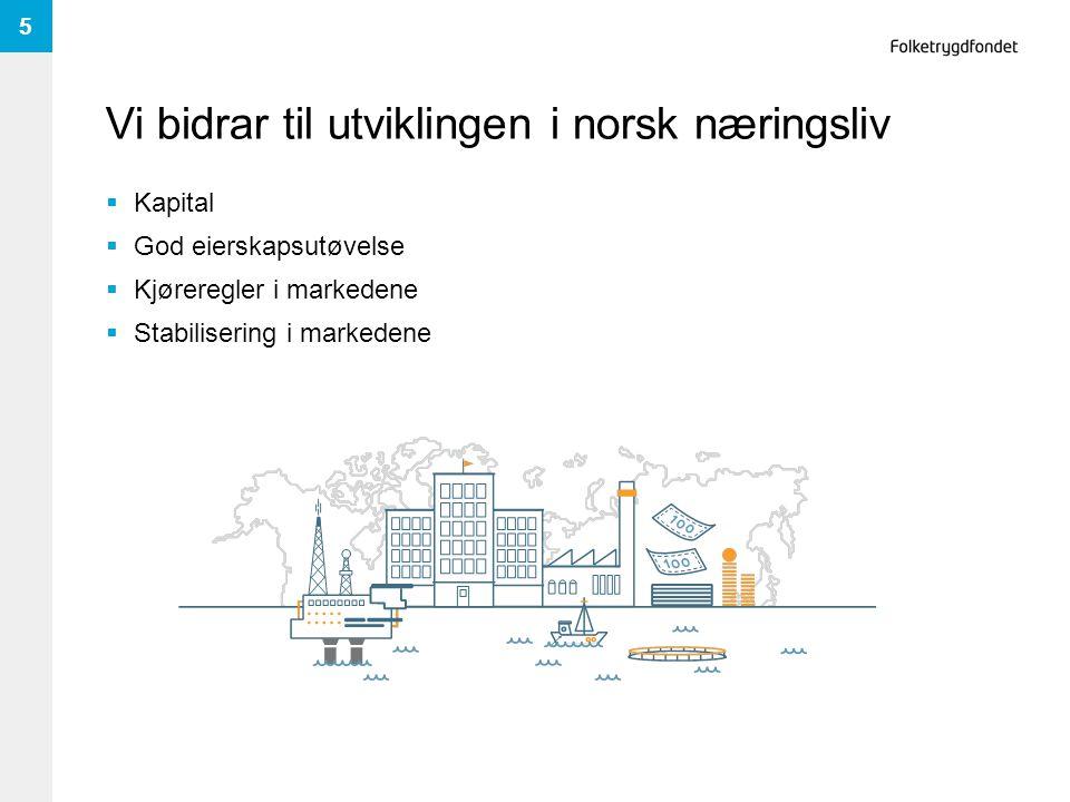 Vi bidrar til utviklingen i norsk næringsliv  Kapital  God eierskapsutøvelse  Kjøreregler i markedene  Stabilisering i markedene 5