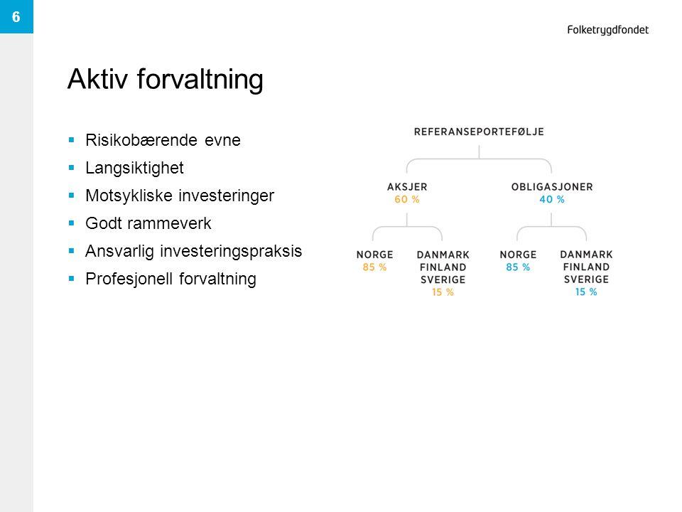 Aktiv forvaltning  Risikobærende evne  Langsiktighet  Motsykliske investeringer  Godt rammeverk  Ansvarlig investeringspraksis  Profesjonell for
