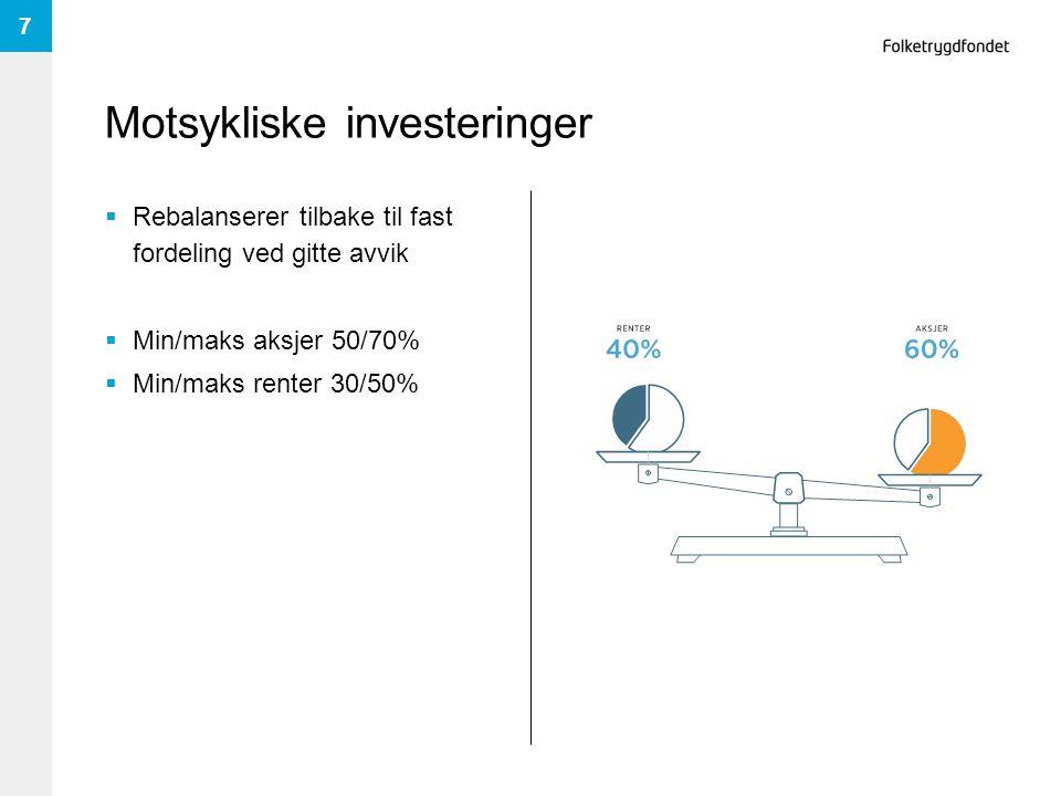 Motsykliske investeringer  Rebalanserer tilbake til fast fordeling ved gitte avvik  Min/maks aksjer 50/70%  Min/maks renter 30/50% 7