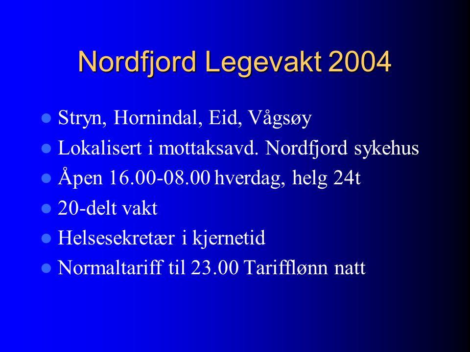 Nordfjord Legevakt 2004 Stryn, Hornindal, Eid, Vågsøy Lokalisert i mottaksavd. Nordfjord sykehus Åpen 16.00-08.00 hverdag, helg 24t 20-delt vakt Helse