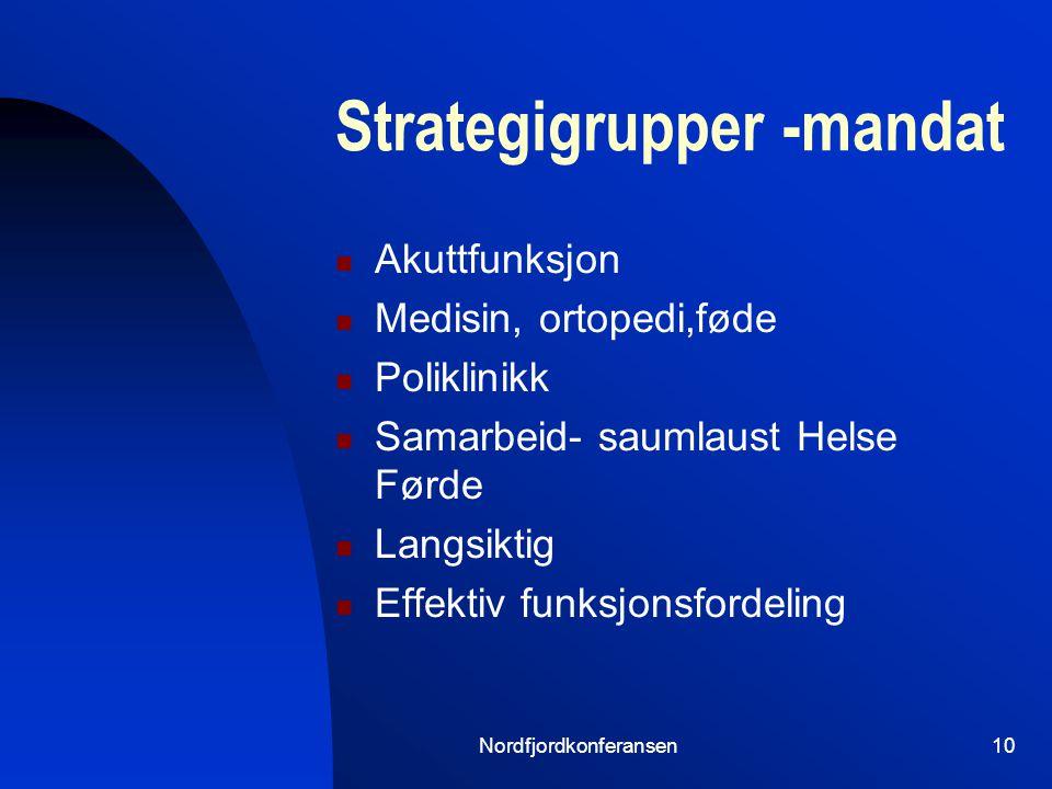 Nordfjordkonferansen9 Helse Førde – strategi Styringsdokument 2005 Tilgjengelighet for pas.
