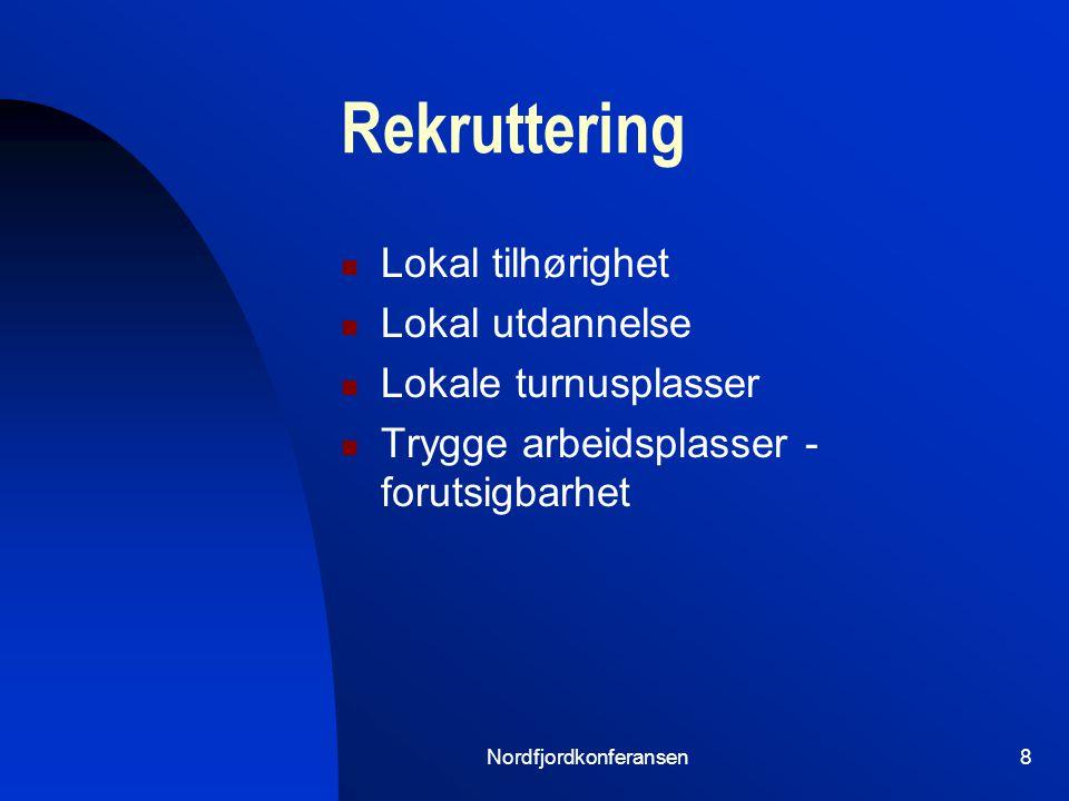 Nordfjordkonferansen8 Rekruttering Lokal tilhørighet Lokal utdannelse Lokale turnusplasser Trygge arbeidsplasser - forutsigbarhet