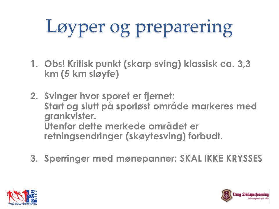 Løyper og preparering 1.Obs! Kritisk punkt (skarp sving) klassisk ca. 3,3 km (5 km sløyfe) 2.Svinger hvor sporet er fjernet: Start og slutt på sporløs