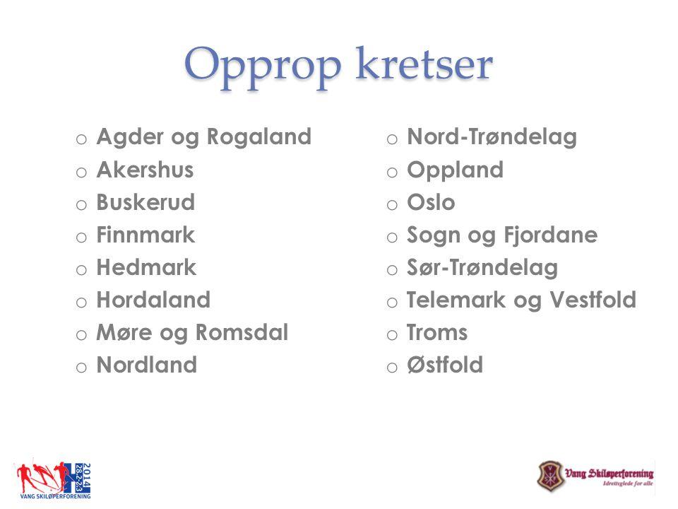 Opprop kretser o Agder og Rogaland o Akershus o Buskerud o Finnmark o Hedmark o Hordaland o Møre og Romsdal o Nordland o Nord-Trøndelag o Oppland o Os