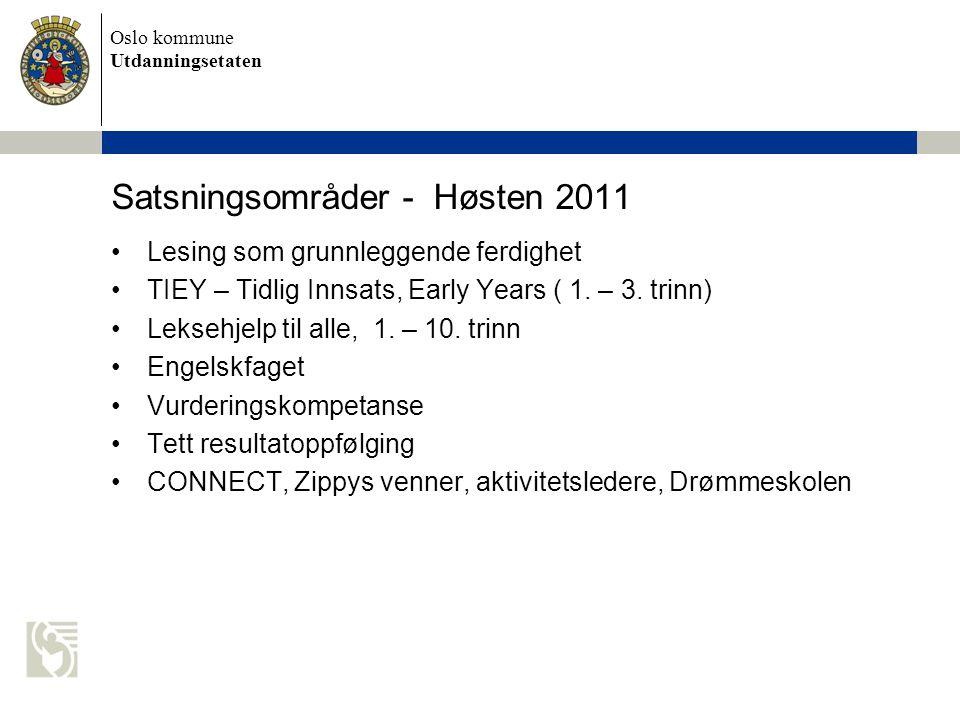 Oslo kommune Utdanningsetaten Satsningsområder - Høsten 2011 Lesing som grunnleggende ferdighet TIEY – Tidlig Innsats, Early Years ( 1. – 3. trinn) Le