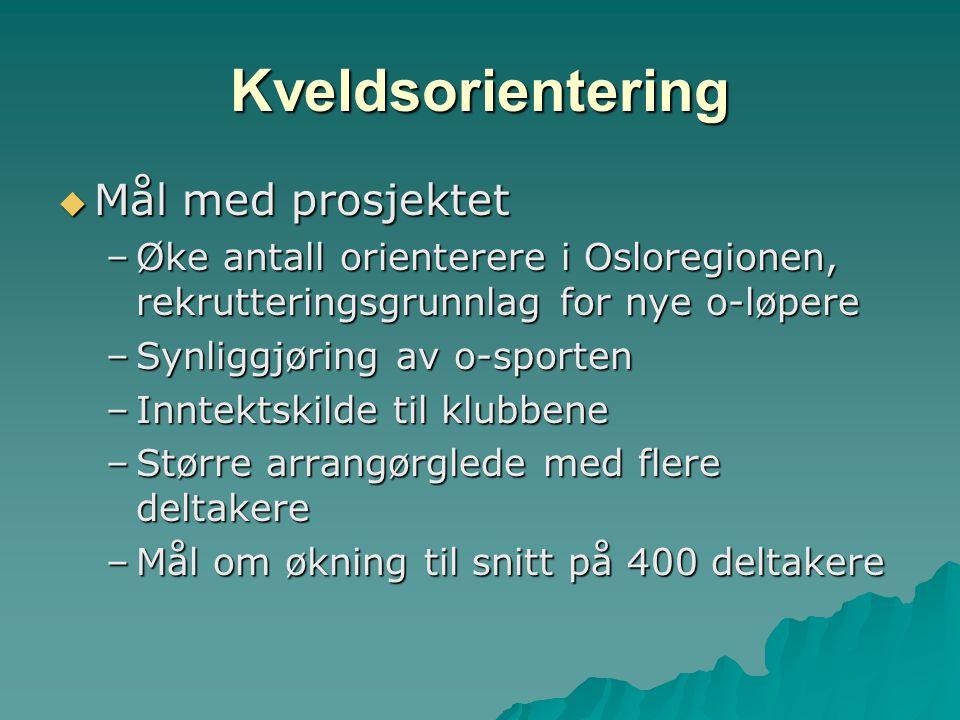 Kveldsorientering  Mål med prosjektet –Øke antall orienterere i Osloregionen, rekrutteringsgrunnlag for nye o-løpere –Synliggjøring av o-sporten –Inntektskilde til klubbene –Større arrangørglede med flere deltakere –Mål om økning til snitt på 400 deltakere