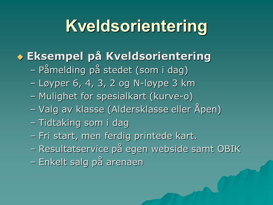 Kveldsorientering  Eksempel på Kveldsorientering –Påmelding på stedet (som i dag) –Løyper 6, 4, 3, 2 og N-løype 3 km –Mulighet for spesialkart (kurve-o) –Valg av klasse (Aldersklasse eller Åpen) –Tidtaking som i dag –Fri start, men ferdig printede kart.