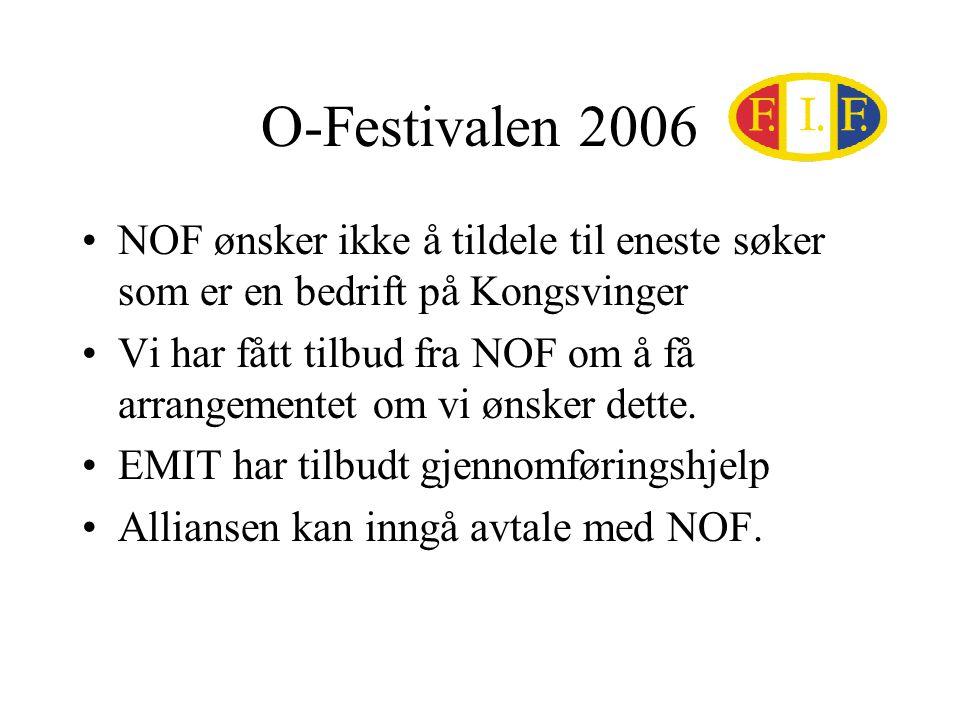 O-Festivalen 2006 NOF ønsker ikke å tildele til eneste søker som er en bedrift på Kongsvinger Vi har fått tilbud fra NOF om å få arrangementet om vi ønsker dette.