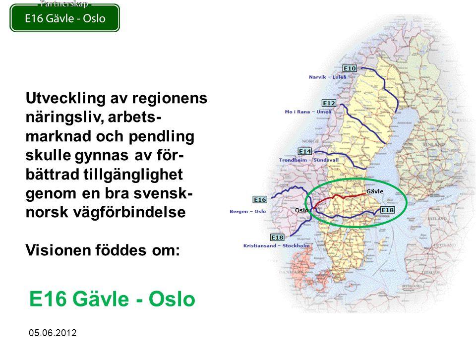 Utveckling av regionens näringsliv, arbets- marknad och pendling skulle gynnas av för- bättrad tillgänglighet genom en bra svensk- norsk vägförbindelse Visionen föddes om: E16 Gävle - Oslo Gävle Oslo 05.06.2012
