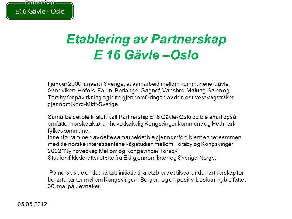 Etablering av Partnerskap E 16 Gävle –Oslo I januar 2000 lansert i Sverige, et samarbeid mellom kommunene Gävle, Sandviken, Hofors, Falun, Borlänge, Gagnef, Vansbro, Malung-Sälen og Torsby for påvirkning og lette gjennomføringen av den øst-vest vägstråket gjennom Nord-Midt-Sverige.