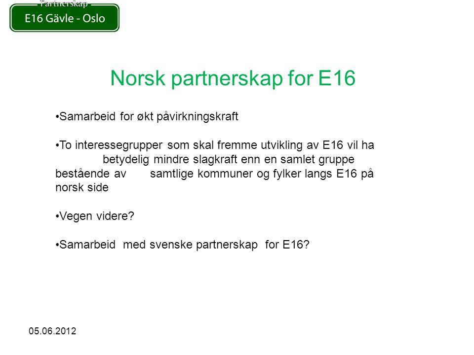 Norsk partnerskap for E16 Samarbeid for økt påvirkningskraft To interessegrupper som skal fremme utvikling av E16 vil ha betydelig mindre slagkraft enn en samlet gruppe bestående av samtlige kommuner og fylker langs E16 på norsk side Vegen videre.