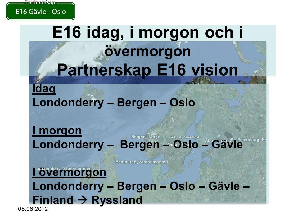 E16 idag, i morgon och i övermorgon Partnerskap E16 vision Idag Londonderry – Bergen – Oslo I morgon Londonderry – Bergen – Oslo – Gävle I övermorgon Londonderry – Bergen – Oslo – Gävle – Finland  Ryssland 05.06.2012