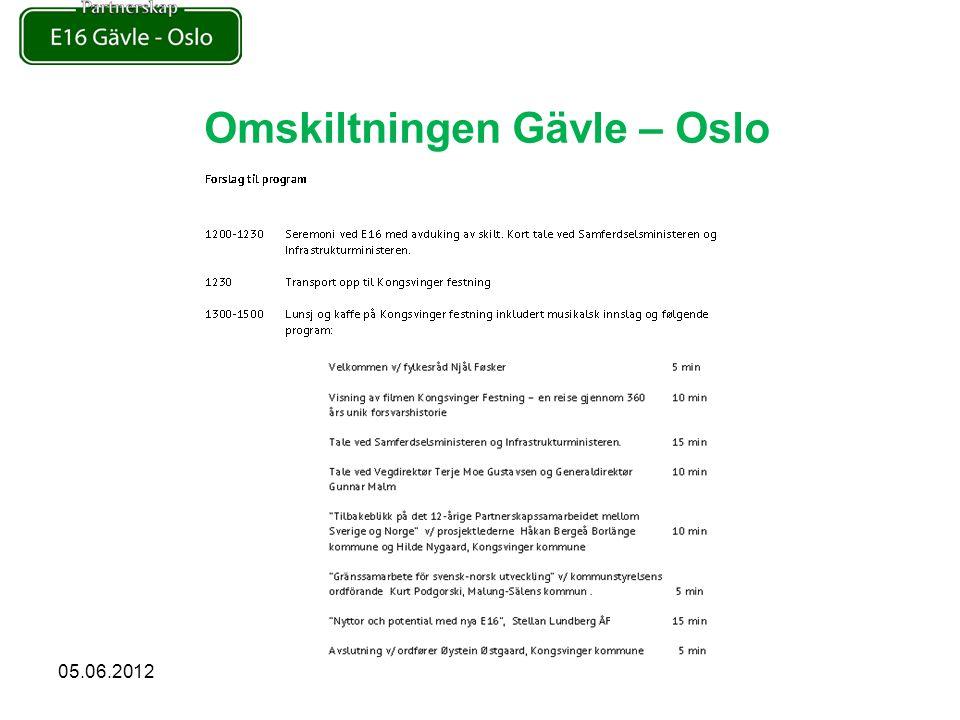 Omskiltningen Gävle – Oslo 05.06.2012