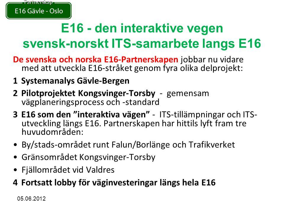 De svenska och norska E16-Partnerskapen jobbar nu vidare med att utveckla E16-stråket genom fyra olika delprojekt: 1Systemanalys Gävle-Bergen 2Pilotprojektet Kongsvinger-Torsby - gemensam vägplaneringsprocess och -standard 3E16 som den interaktiva vägen - ITS-tillämpningar och ITS- utveckling längs E16.