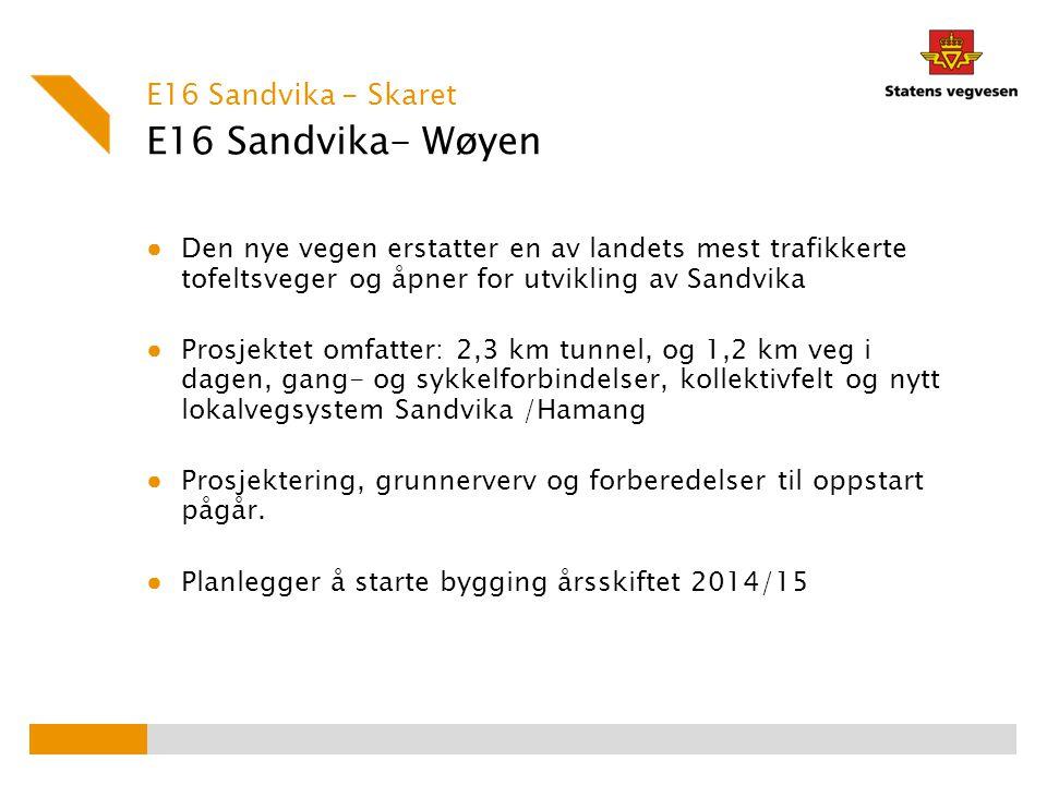 E16 Sandvika- Wøyen E16 Sandvika - Skaret ● Den nye vegen erstatter en av landets mest trafikkerte tofeltsveger og åpner for utvikling av Sandvika ● P