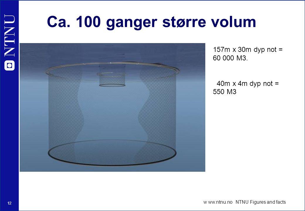 12 w ww.ntnu.no NTNU Figures and facts Ca.100 ganger større volum 157m x 30m dyp not = 60 000 M3.
