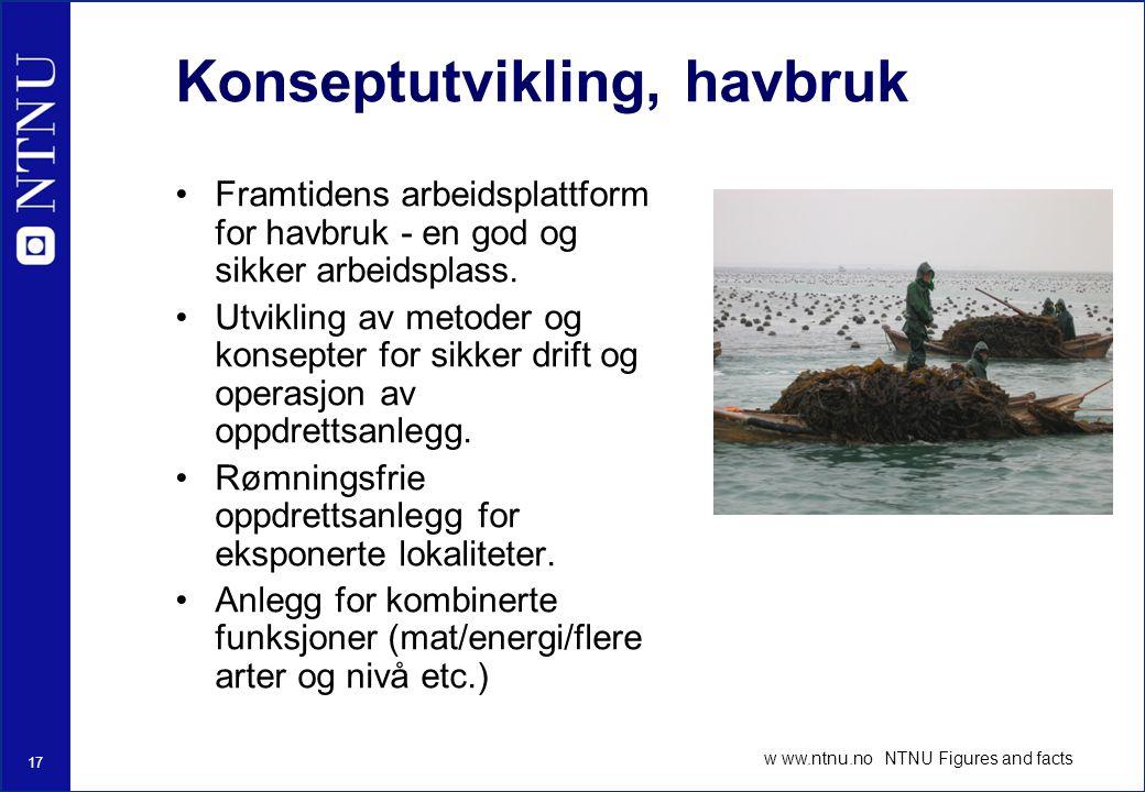 17 w ww.ntnu.no NTNU Figures and facts Konseptutvikling, havbruk Framtidens arbeidsplattform for havbruk - en god og sikker arbeidsplass.