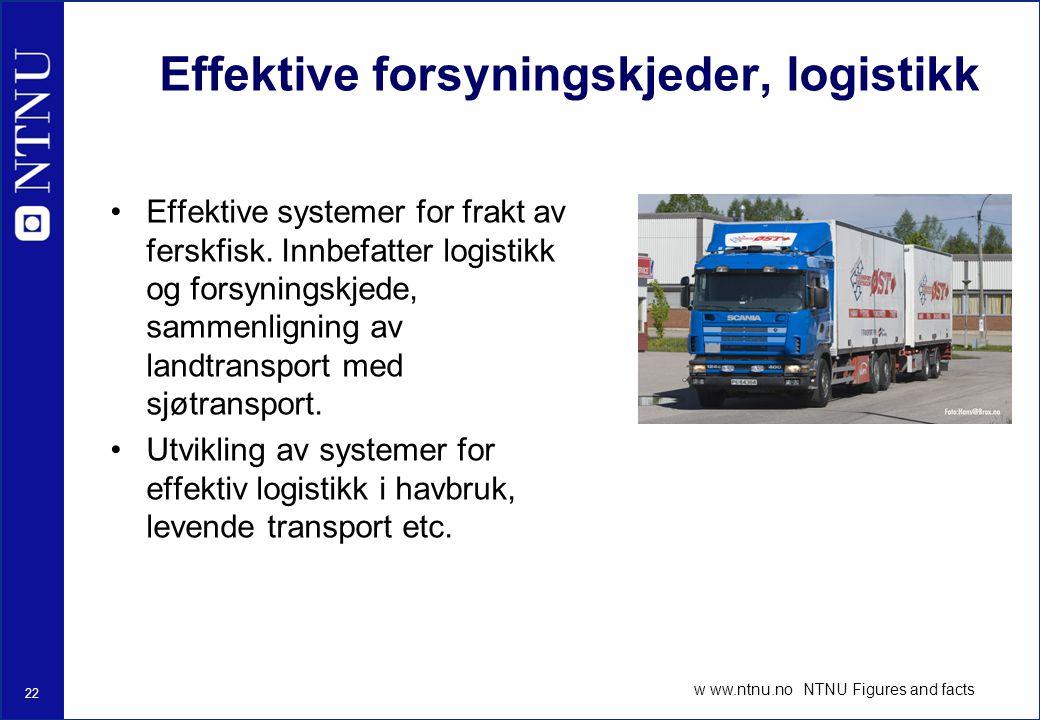 22 w ww.ntnu.no NTNU Figures and facts Effektive forsyningskjeder, logistikk Effektive systemer for frakt av ferskfisk.
