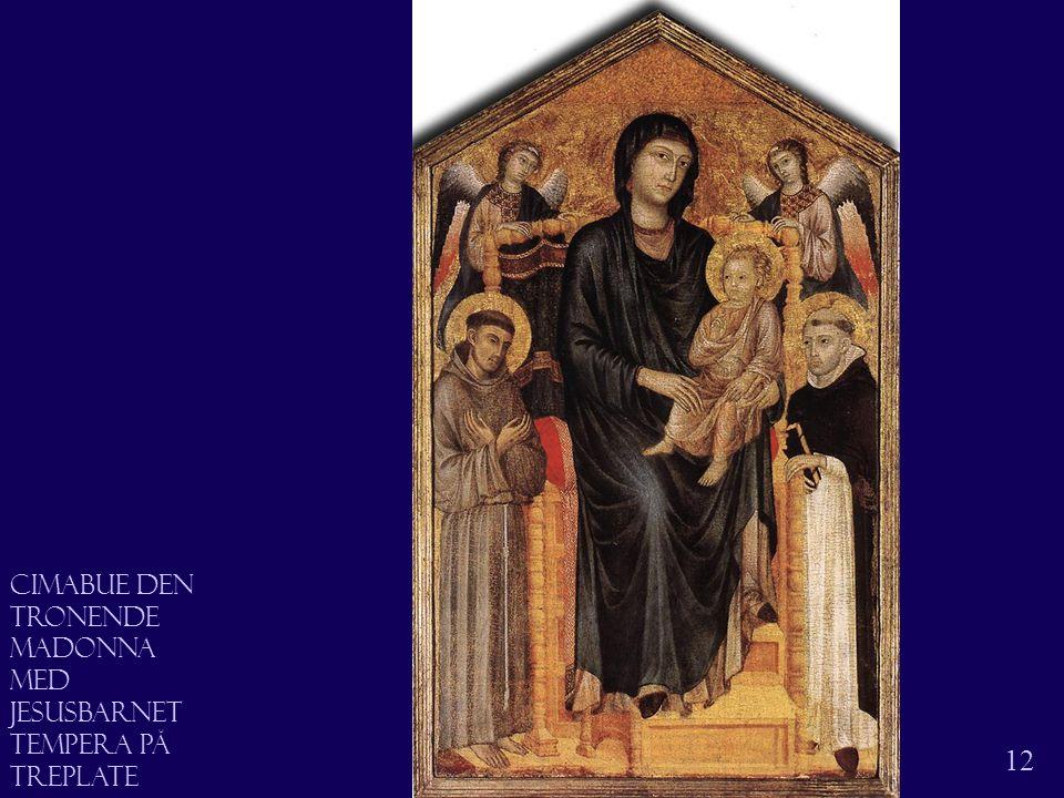 Madonna på tronen 12 Cimabue den tronende madonna Med Jesusbarnet Tempera på treplate