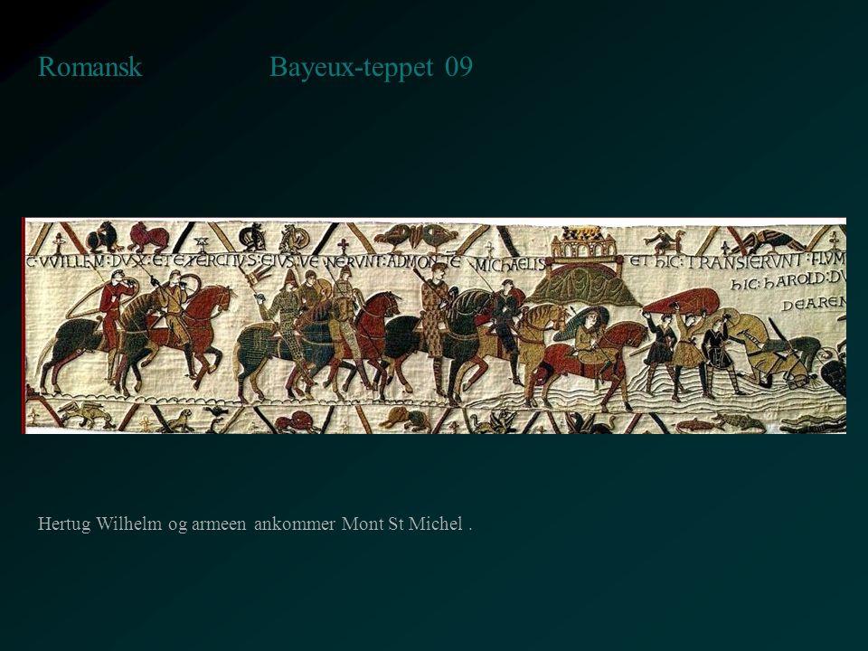 Bayeux-teppet 09 Romansk Hertug Wilhelm og armeen ankommer Mont St Michel.