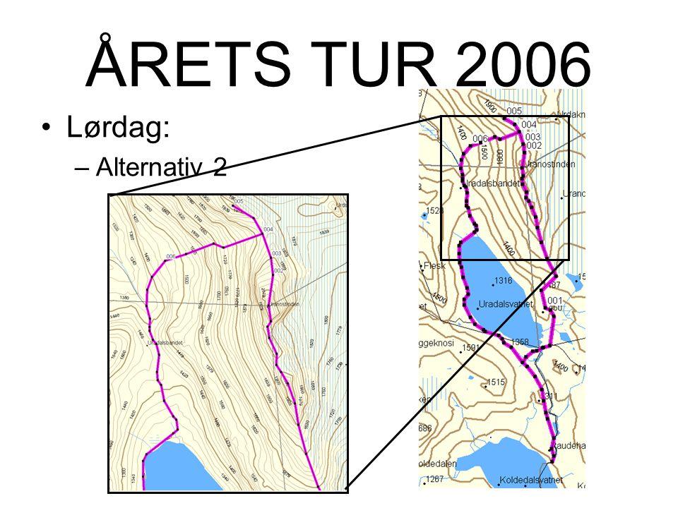 ÅRETS TUR 2006 Lørdag: –Alternativ 2:Tur med fjellfører til: Uranostinden - 2157m Uranostind S1 – 2037m Uranostind S2 – 2048m Slingsbytinden (Uranostinden N) – 2026m