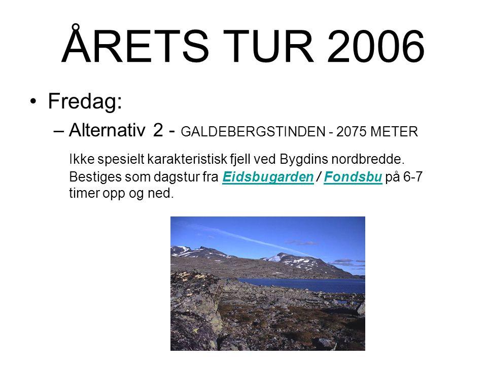 ÅRETS TUR 2006 Fredag: –Alternativ 1 - Langeskavltind 2014m